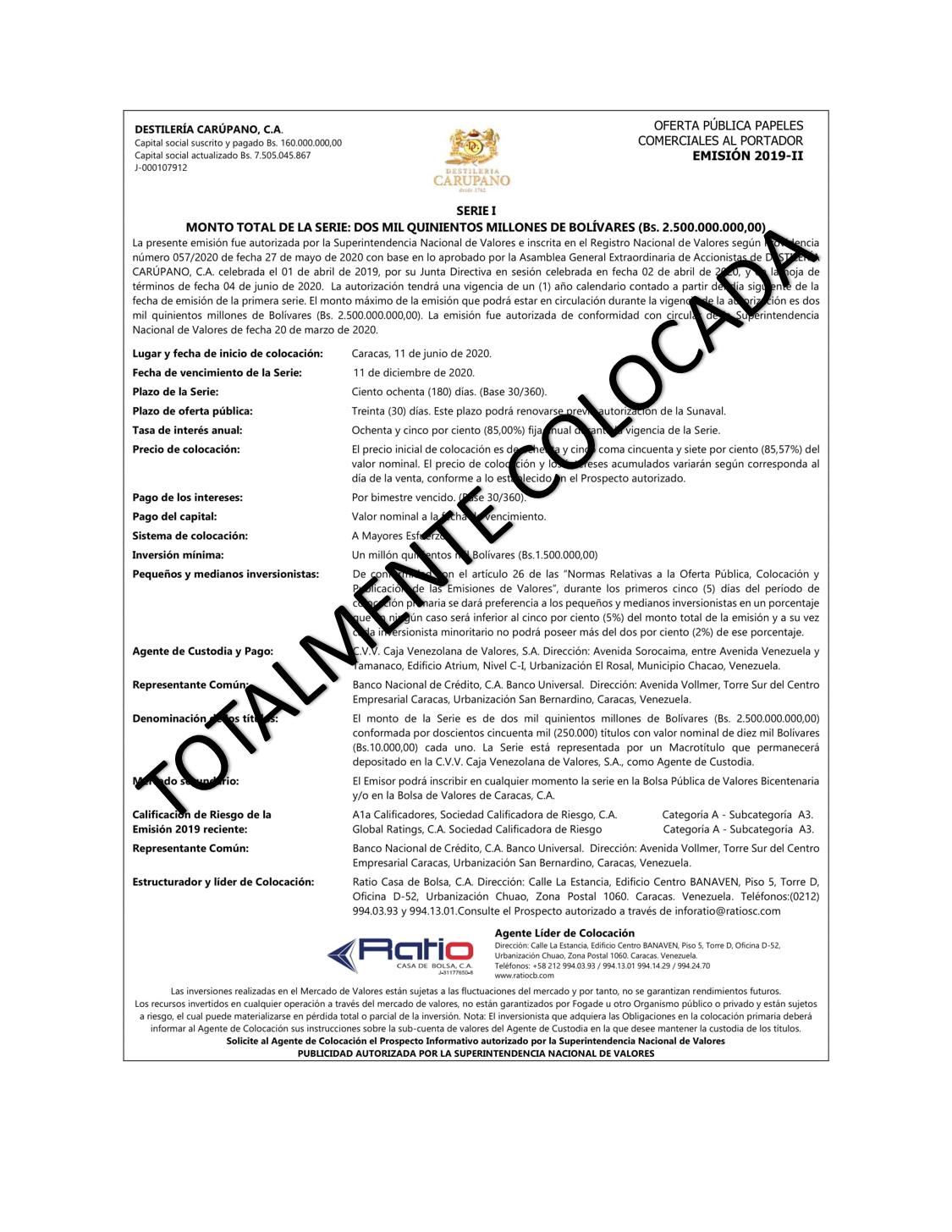 CARUPANO Tot Colocada - SERIE 2019-II